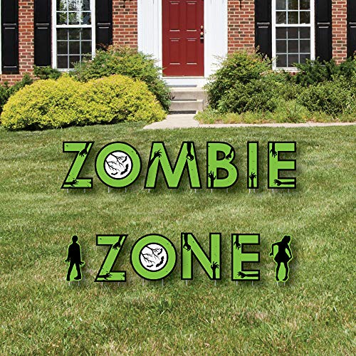 Big Dot of Happiness Zombie Zone - Yard Sign Outdoor Rasn Dekorationen - Halloween oder Geburtstag Zombie Krabbel-Party Yard Schilder - Zombie Zone