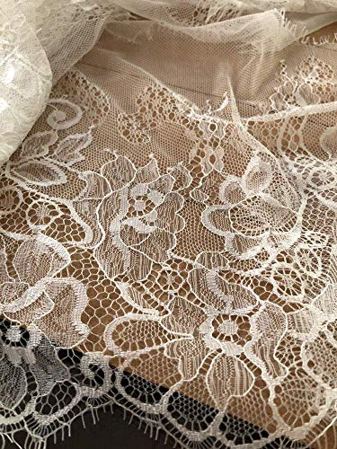 Luleke 3 Yards Soft Knitted Eyelashes Lace Fabric Trim 2 Farben 100% Nylon Craft Underwear Lace Sewing DIY for Dress Make Decoration 24cm Wide (White) -