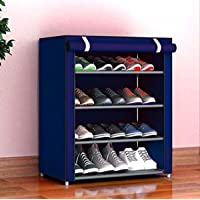 PYXBE Multipurpose Portable Folding Shoes Rack 4 Tiers Multi-Purpose Shoe Storage Organizer Cabinet Tower with Iron and…