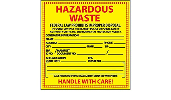 National Marker Corp  HW10 Labels, Hazardous Waste, 6
