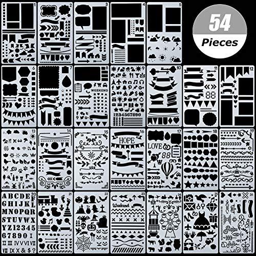 54 Stück Bullet Schablonen-Set, Journal Planer Schablonen für Notizbuch, Tagebuch, DIY Scrapbook, inklusive Briefschablone, Zahlenschablonen -
