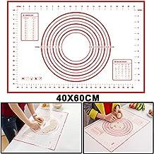 Extra grande silicona hornear Mat para rodillo de amasar con las mediciones (60x 40cm), antiadherente, antideslizante profesional tamaño, negro y rojo rosso