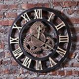 Wen Rétro Horloge Murale Loft Industriel Style Roman Chiffre Engrenage Horloge Mural pour Salon, Café (19.5 * 0.6 * 19.5 po) (Couleur : Or)