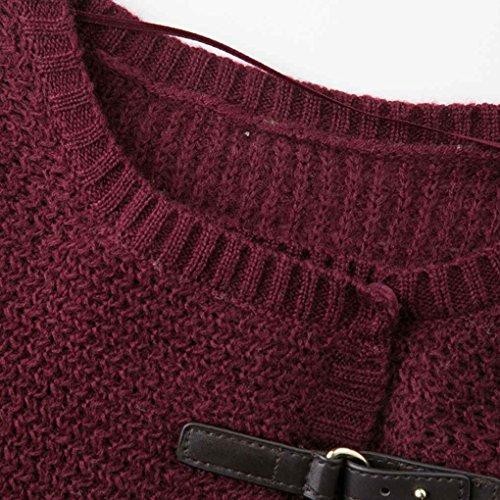 Masterein Automne Hiver Femmes Grande taille Chandail à cardigan en tricot en couleur solide dans le manteau à manches longues Vino rojo