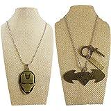 Eshoppee Set Of 2 Pcs Antique Look Designer Iron Man, Batman Vs Superman, Cross Locket Pendant With Chain Necklace Men's Women's Jewellery Dog Tags (4256-86)