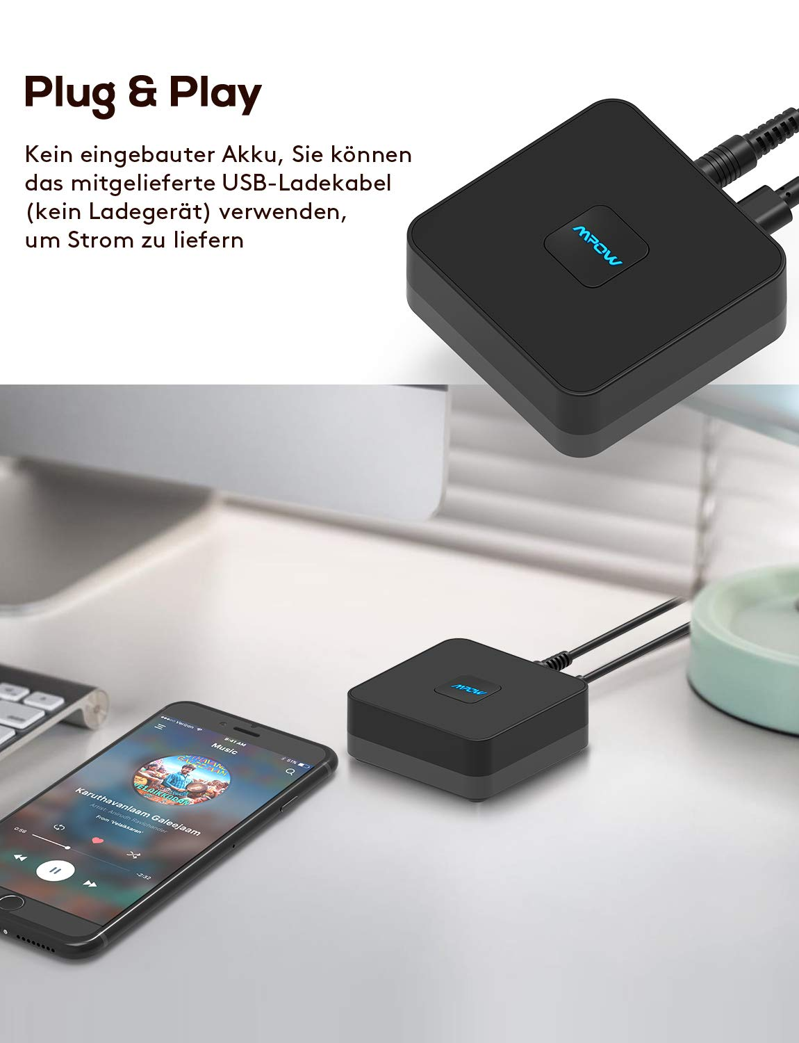 Mpow-Bluetooth-Empfnger-Wireless-Audio-Music-Adapter-15-Stunden-lange-Akkulaufzeit-35-mm-Stereo-Cinch-Klinkenkabel-fr-die-Heim-Auto-Audio-Stereoanlage-Dual-Device-Connection-Auto-Reconnect