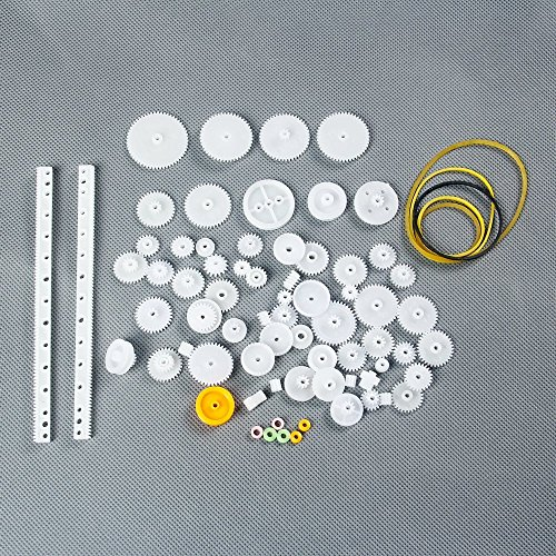 LAOMAO Pack of 75 Plastic Gears Transmission Set Zahnr Wire Robot Parts Accessories DIY Test