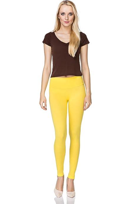 FUTURO FASHION - Leggings Suaves para Mujer - Algodón - Amarillo ...
