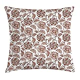 VICKKY Floral Throw Pillow Cushion Cover, Earth Tones Blossom Chrysanthemums Cottage Foliage Ornamental Pattern, Decorative Square Accent Pillow Case, 18 X 18 inches, Warm Taupe Umber Blush
