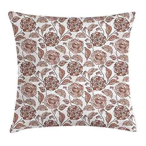 Floral Throw Pillow Cushion Cover, Earth Tones Blossom Chrysanthemums Cottage Foliage Ornamental Pattern, Decorative Square Accent Pillow Case, 18 X 18 inches, Warm Taupe Umber Blush - Cottage Standard-quilt