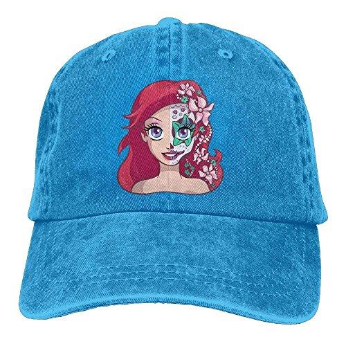 Preisvergleich Produktbild Presock Sugar Skull Series Ariel Adult Cowboy Hat Baseball Cap Adjustable Athletic Custom Gifts Hat for Men and Women