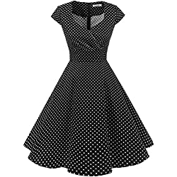 Bbonlinedress Vestido Corto Mujer Retro Años 50 Vintage Escote En Pico Black Small White Dot 3XL