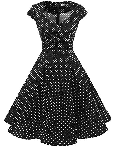 bbonlinedress 1950er Vintage Retro Cocktailkleid Rockabilly V-Ausschnitt Faltenrock Black Small White Dot XS