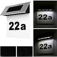 Alaskaprint Solar beleuchtete Hausnummer mit 4 LEDs Beleuchtung Hausnummernleuchte mit LED Leuchte beleuchtet…