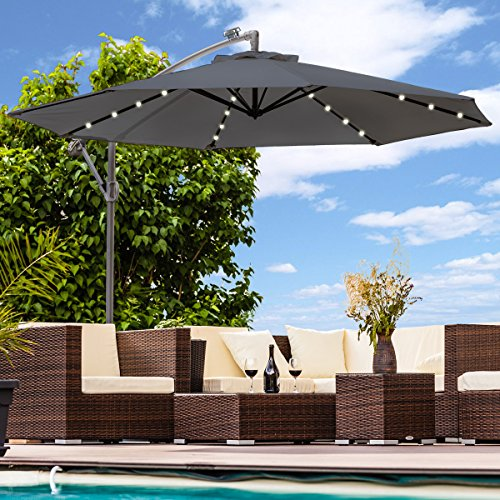 Luxus Sonnenschirm mit LED Beleuchtung Ampelschirm 300 cm Solar Garten Schirm Pavillon (Anthrazit)
