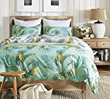 Bettwäsche Set 135 x 200 Kinder Ananas Blätter Pflanzen Muster Drucken Polyester-Baumwolle 1 Bettbezug mit 1 Kissenbezug 80x80 ohne Füllung