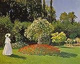Kunstdruck/Poster: Claude Monet Dame im Garten - hochwertiger Druck, Bild, Kunstposter, 80x65 cm