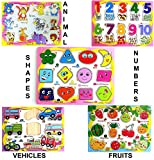 #9: Happy GiftMart Set of 5 Animals Numbers Shape Vehicles and Fruit Wooden Learning Puzzle Educational Toy for Toddles and Infant