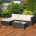 Polyrattan Lounge Gartengarnitur Sofa Tisch und Kissen in schwarz
