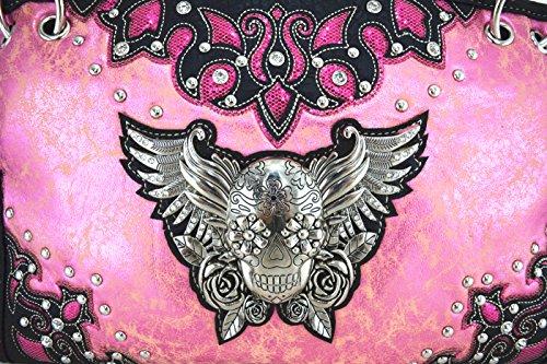 Blancho Biancheria da letto delle donne in pelle [Eagle Wing] PU borsa elegante di modo Borsa rosa Combo-Rosa