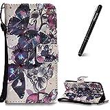 Flip Tasche Kompatibel mit iPhone 6/iPhone 6S,Slynmax 3D s Lederhülle,Ledertasche Handyhülle Wallet Tasche Schutzhülle PU Leder Case Taschen Brieftasche iPhone 6/iPhone 6S,Schwarzer Schmetterling