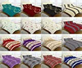 FLANNELETTE 100% Brushed COTTON DUVET QUILT Cover SETS ~ with FREE PILLOWCASES ~ CHRISTMAS GIFT IDEA ~ Black, Red, Teal, Grey, Blue, Pink, Plum, Cream ~ UK SIZES NEW (SINGLE, EVAN- Plum)