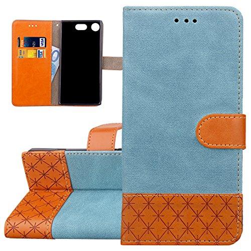 ISAKEN Sony Xperia XZ1 Compact Hülle, PU Leder Geldbörse Wallet Case Ledertasche Handyhülle Tasche Schutzhülle mit Standfunktion Karte Halter für Sony Xperia XZ1 Compact - Verbindung Leinen Blau