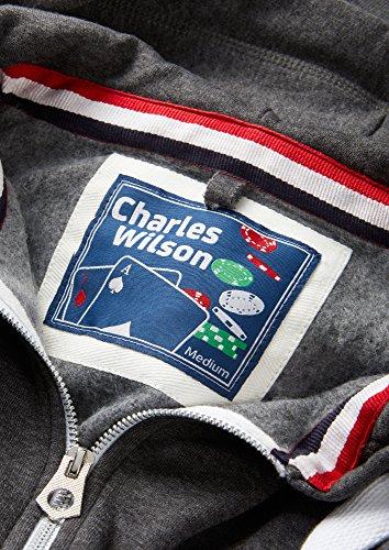 Charles Wilson Herren Kapuzenpulli mit Reißverschluss aus mittelschwerer Baumwollmischung Anthrazit Meliert