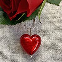 Diana Ingram necklace with red (it. rosso) Murano glass medium heart pendant (20mm) on 18 inch (46cm) Sterling Silver snake chain.