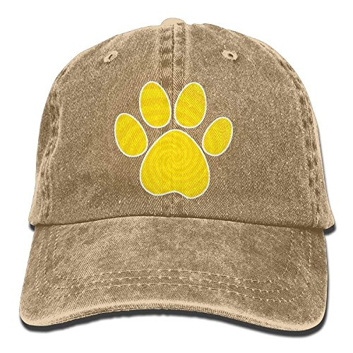 Yellow Dog Paw Denim Hat Adjustable Men Snapback Baseball Hats (Dog Hat Tag)