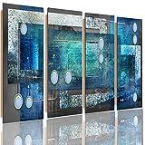 Feeby Frames, Cuadro de pared - 4 partes - Cuadro decorativo, Cuadro impreso, Cuadro Deco Panel, Tipo C, 120x80 cm, ABSTRACCIÓN, CÍRCULOS, RECTÁNGULOS, CUADROS, GRIS, AZUL
