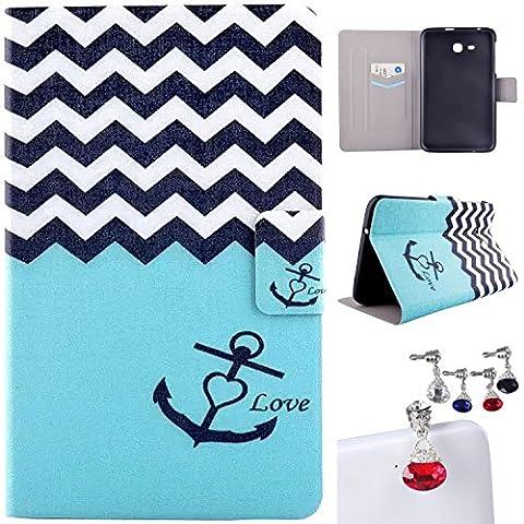 CaseMa-EUPU Leder Tasche Schutzhülle Flip Standfunktion Schutz Hülle Case Etui Fall für Samsung Galaxy Tab 3 7.0 Lite T110 T111 (7.0 inch) (Liebe Anchors MM) mit Ein zufällige Farbe