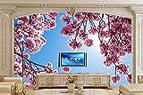 Lwcx benutzerdefinierte Wandmalereien blühenden Bäumen Äste Rosa Blumen Hintergrundbilder Wohnzimmer Fernseher Sofa Wand Schlafzimmer 3D-Hintergrund D 250X175CM