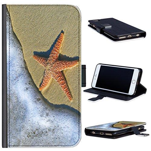 Hairyworm - BG0199 Starfish auf Sand mit Flut kommen in HTC One M7 Leder Klapphülle Etui Handy Tasche, Deckel mit Kartenfächern, Geldscheinfach und Magnetverschluss. HTC 1 M7 Fall Handy-fall, Htc M7