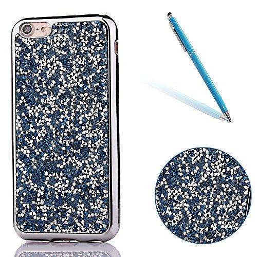 """iPhone 7 Hülle, Kristal Glitzer CLTPY iPhone 7 Ultradünne Glänzend Plating TPU Handytasche mit Sparkly Bling Diamant, Weich Stoßdämpfend Silikon Schale Fall für 4.7"""" Apple iPhone 7 + 1 x Stift - Weiß- Weiß Blau"""