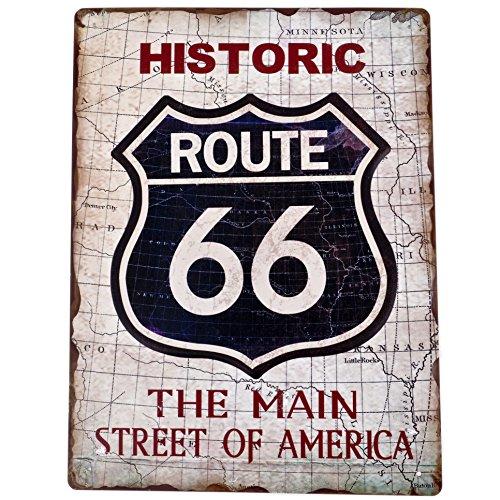 Route 66 (Dadeldo Living & Lifestyle Blechschild Route 66 Design Metall 40x30cm creme-schwarz Retro Nostalgie Sprüche Reklame)