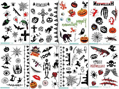 niceEshop(TM) 8PCS Spezielle Entwurf Lustige Übergang Baumwolltätowierungen Halloween (Lustige Halloween Custumes)
