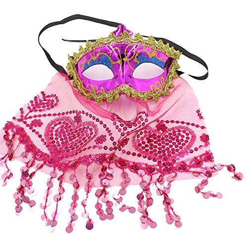 ration, Bauchtanz für Frauen, Mystère Prinzessin, Maske, Prank, Kostüm Karneval Fasching, Party Cosplay 20 x 15 cm 15 * 20CM rot/rosa ()