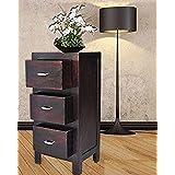 MP ENTERPRIESES Sheesham Wood Smart 3 Drawer Storage Bed Side End Table, Standard, Dark Brown