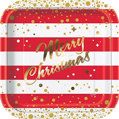 ristmas Pappteller weihnachtliches-Tischzubehör 8 Stück rot-Weiss 23cm ()