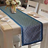 #6: Lushomes Blue Jacquard Table Runner with High Quality Polyester Border (Size: 16