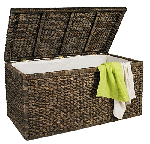 artra design GmbH Truhe mit Klappdeckel braun, 110 cm, atmungsaktive, nachhaltige Aufbewahrungsbox mit Deckel Aufbewahrungskiste Aufbewahrungstruhe Wäschetruhe Auflagenbox