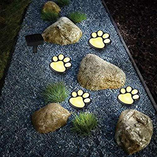 LED Solar Garten Licht Im Freien Wasserdicht, Gartendekoration Hund Katze Tier Klaue Print Lichtweg Rasen Licht (Warm white)
