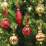 Valery Madelyn 24 Pcs 70-107mm Luxury Red Gold Glass Christmas Baubles Tree Decorations Novelty Ball Ornaments, 24 Pcs Metal Hooks Included, Themed with Tree Skirt (Not Included)