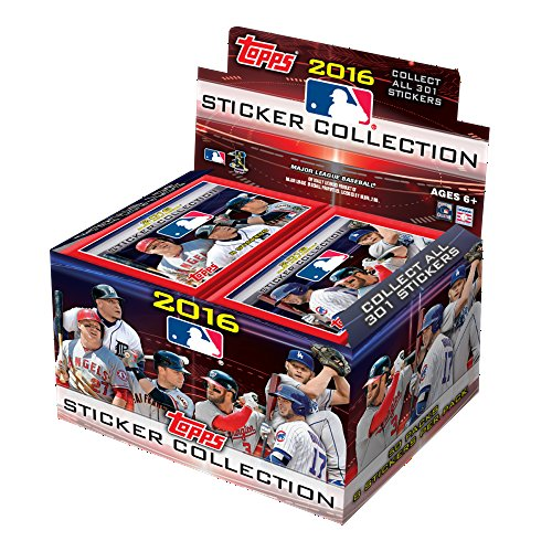 Topps MLB 2016 Aufkleber Collection Refill Box, klein, schwarz