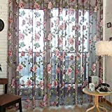 Romantische Blumen Tüll Voile Fenstervorhang Drapieren Panel-Sheer-Schal VolantsFighting