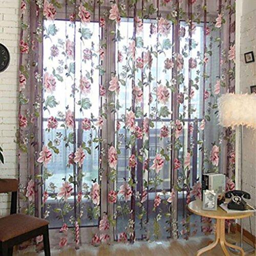 Busirde romantico floreale tulle voile tenda della finestra pannello di drape mantovane sciarpa sheer