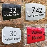 Personalisiertes Hausschild mit Hausnummer und Straßennamen, rostfrei, wetterbeständig, individuell