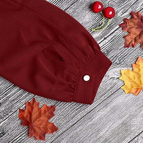 Vestito Donna Elegante,Kword Donne Lavoro Indossare Abiti Casual Manica Lunga Mini Abito Partito Sciolto (Rosso, S)
