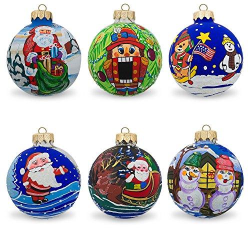 8,3cm set di 6pupazzo di neve, Orso, Babbo Natale, schiaccianoci palla di vetro ornamenti di Natale